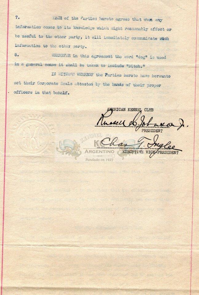 Convenio de reciprocidad entre el Kennel Club Argentino y el American Kennel Club.- 27 June 1935 (3)
