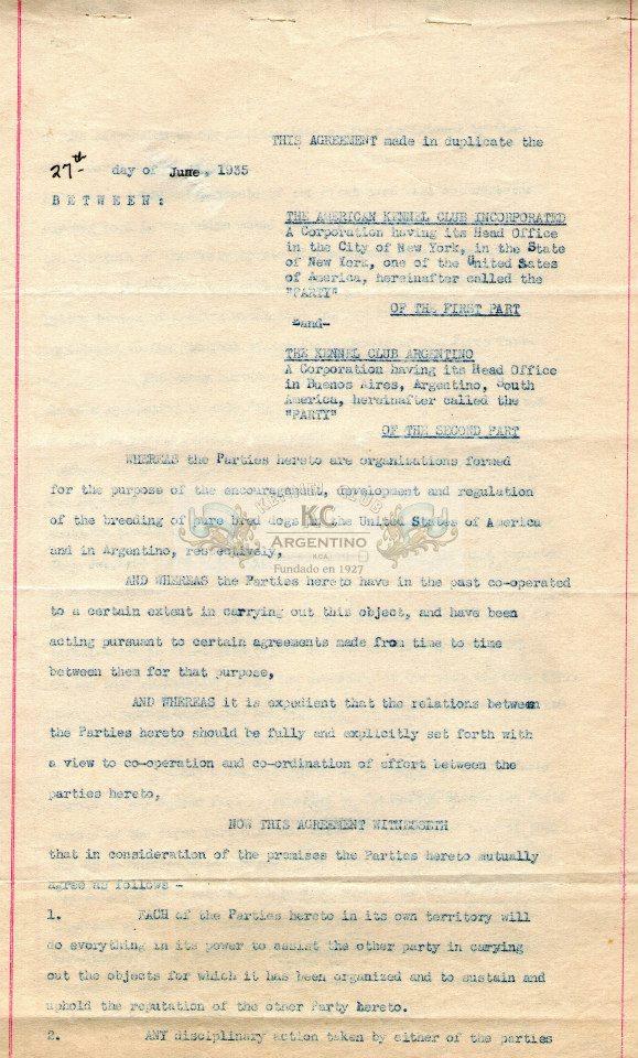 Convenio de reciprocidad entre el Kennel Club Argentino y el American Kennel Club.- 27 June 1935