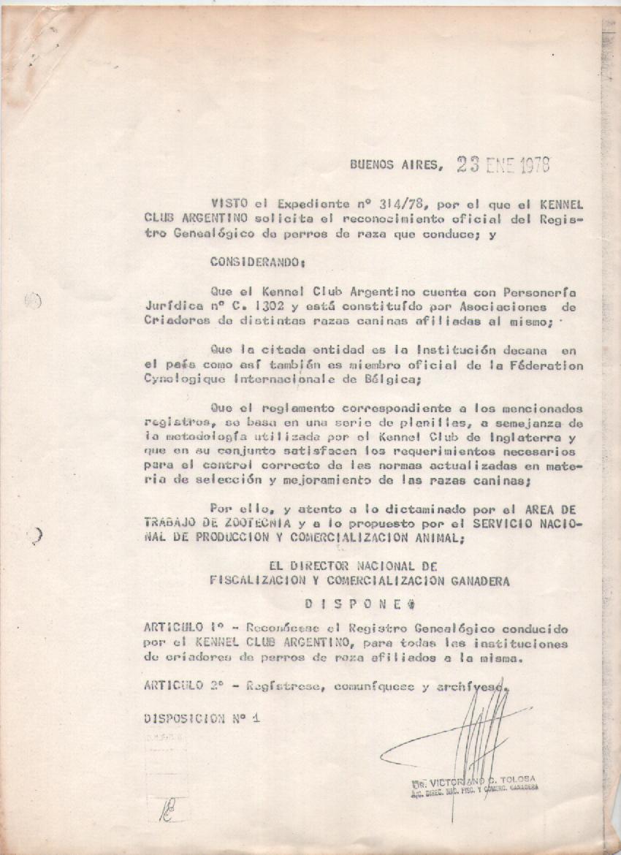 Reconocido por la Secretaria de Agricultura y Ganadería 1978 - disposición