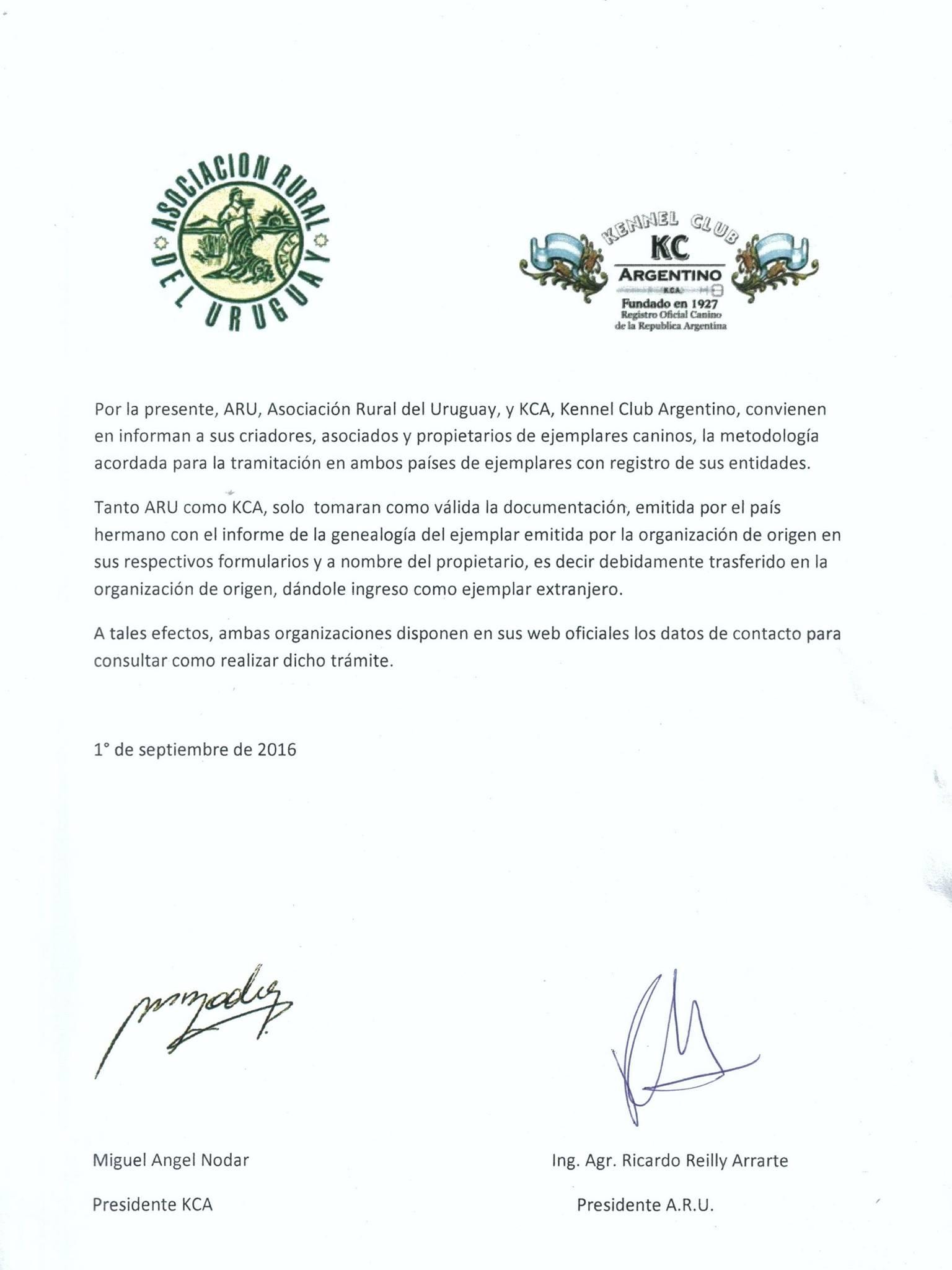 Asociación Rural del Uruguay - ARU / Kennel Club Argentino - KCA