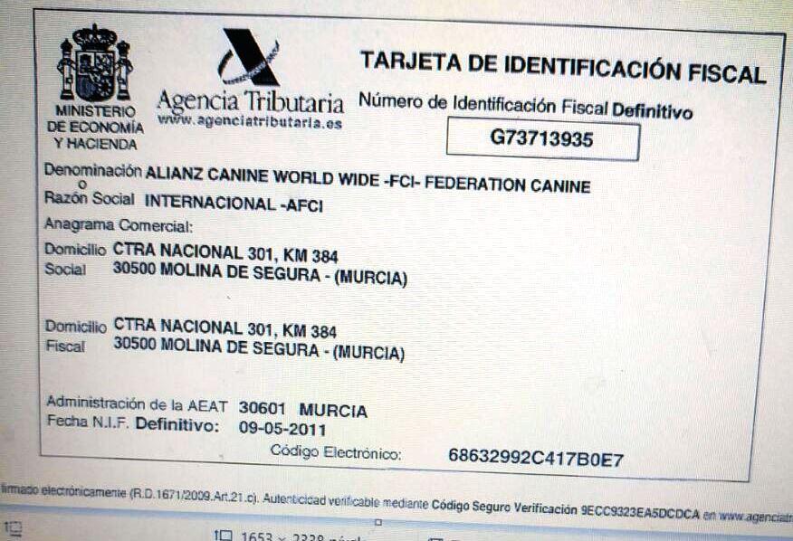 Tarjeta de Identificación fiscal Alianz Canine Wordwide - Renuncio