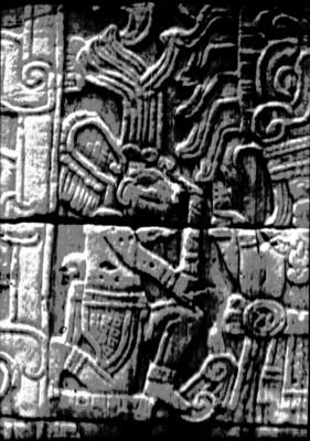Tablero del Juego de Pelota con la representación del Dios C - Perros en las religiones