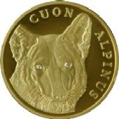 Cuon alpinus en una moneda de oro de Kazajistán
