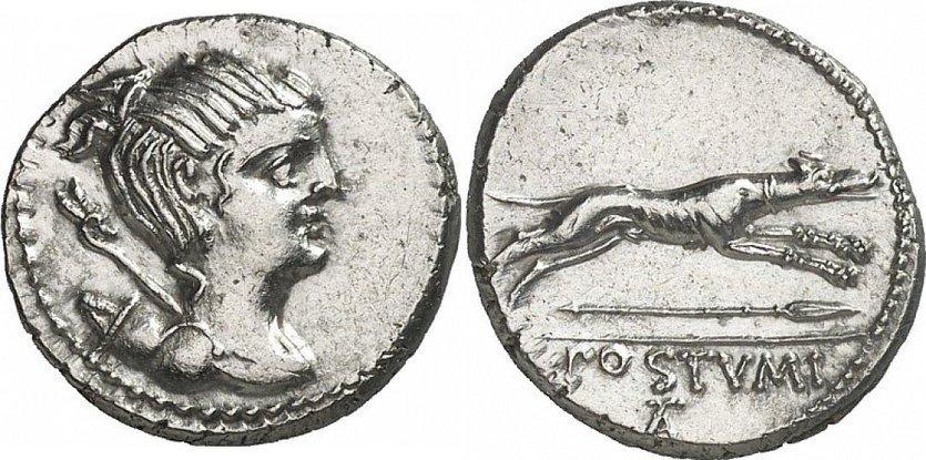 Denario romano en el que podemos ver representado un perro tipo galgo