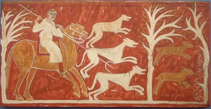 Representación de galgos en la ermita de San Baudelio de Barlanga, Soria